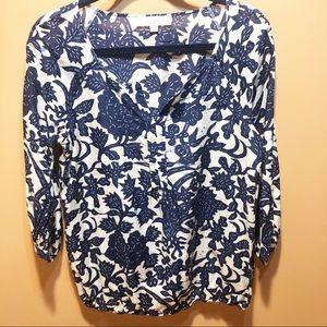 Ann Taylor loft blue floral 3/4 sleeves silk top